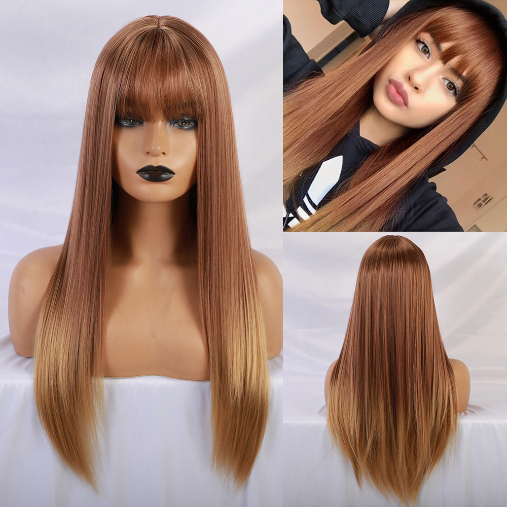 Blonde Unicorn Synthetic Ombre Blonde Long Straight Wig With Bangs Heat-resistant Cosplay Party  Lady Wigs For Black/White Women