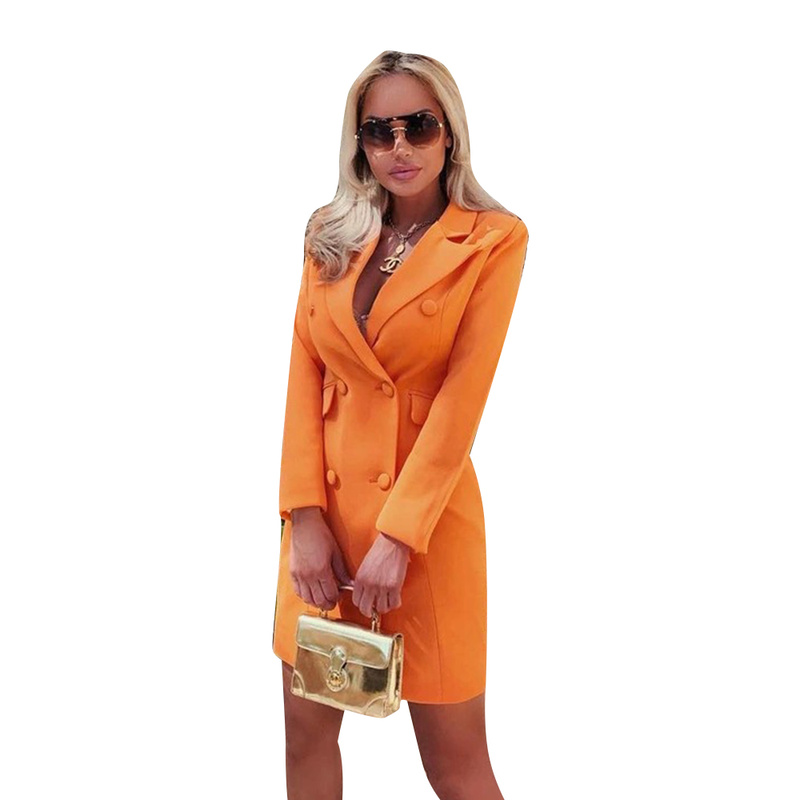 Women's Sexy Suit Femme Blazers Slimming Waist Slim Orange Business Coat Female Dress Office Lady Button Solid Coat Vadim Tweed