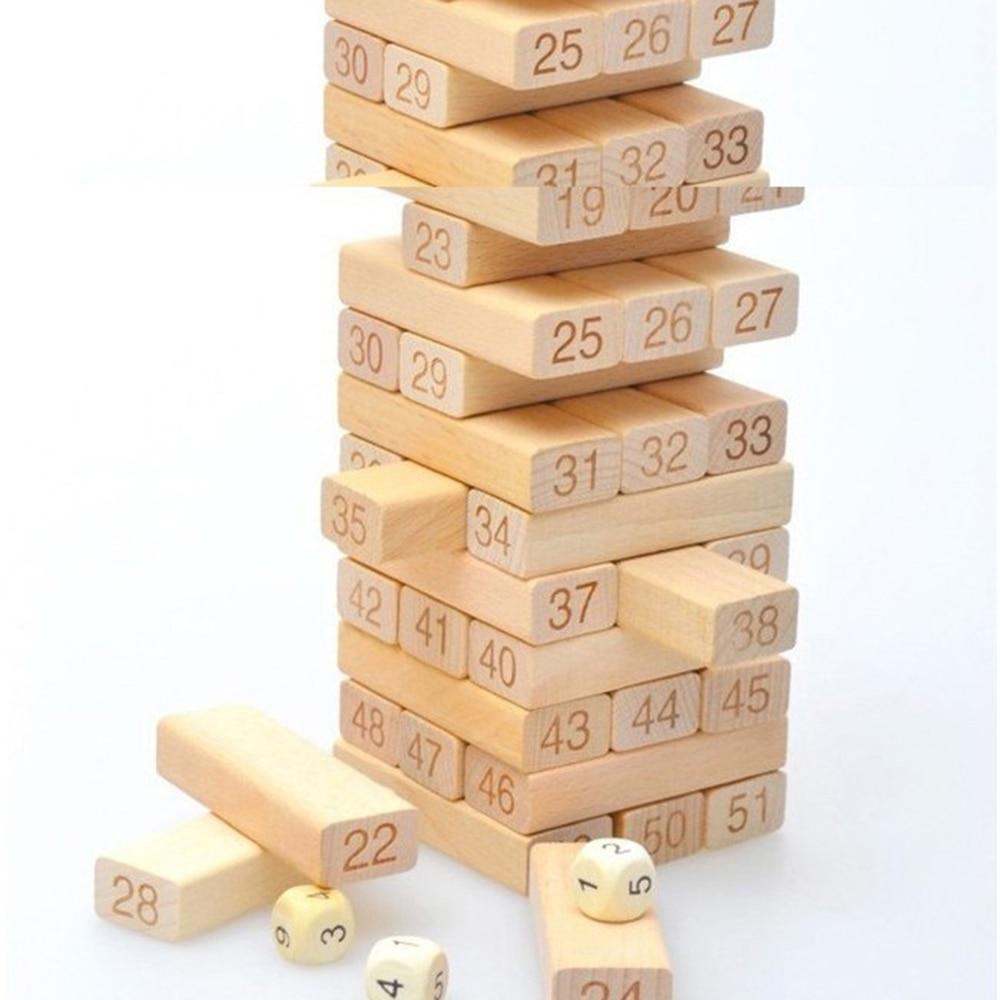 54pcs/Set Creative Kids Digital Layer Stacking Log Blocks Puzzle Toy Practical Wooden Mathematics Teaching Resources