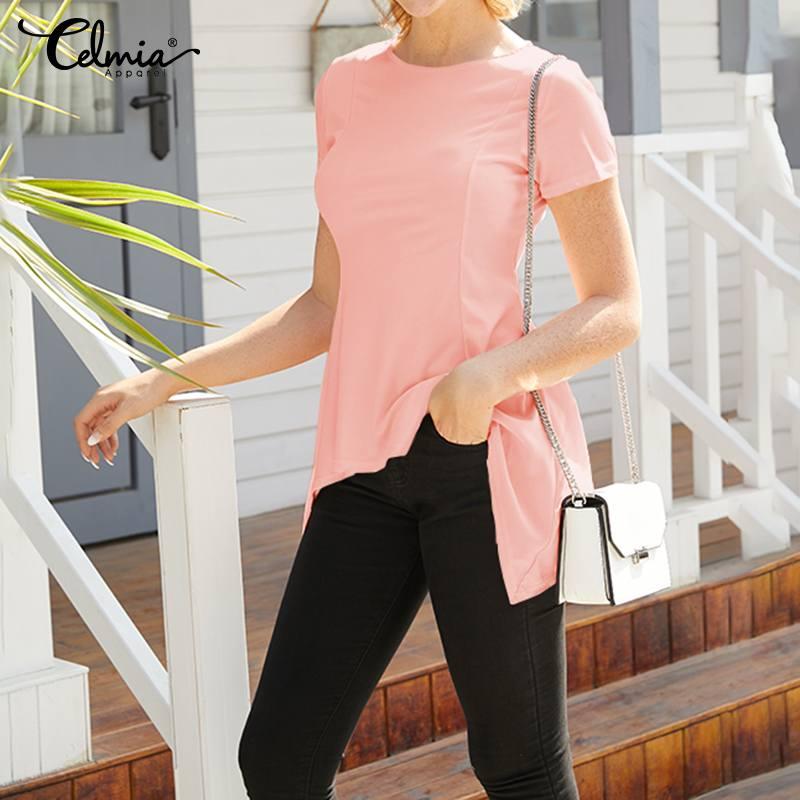 Celmia Women Sexy Peplum Tops Summer Fashion Blouses Short Sleeve Slim Solid Casual Shirts Tunic Top Blusas Femininas Plus Size