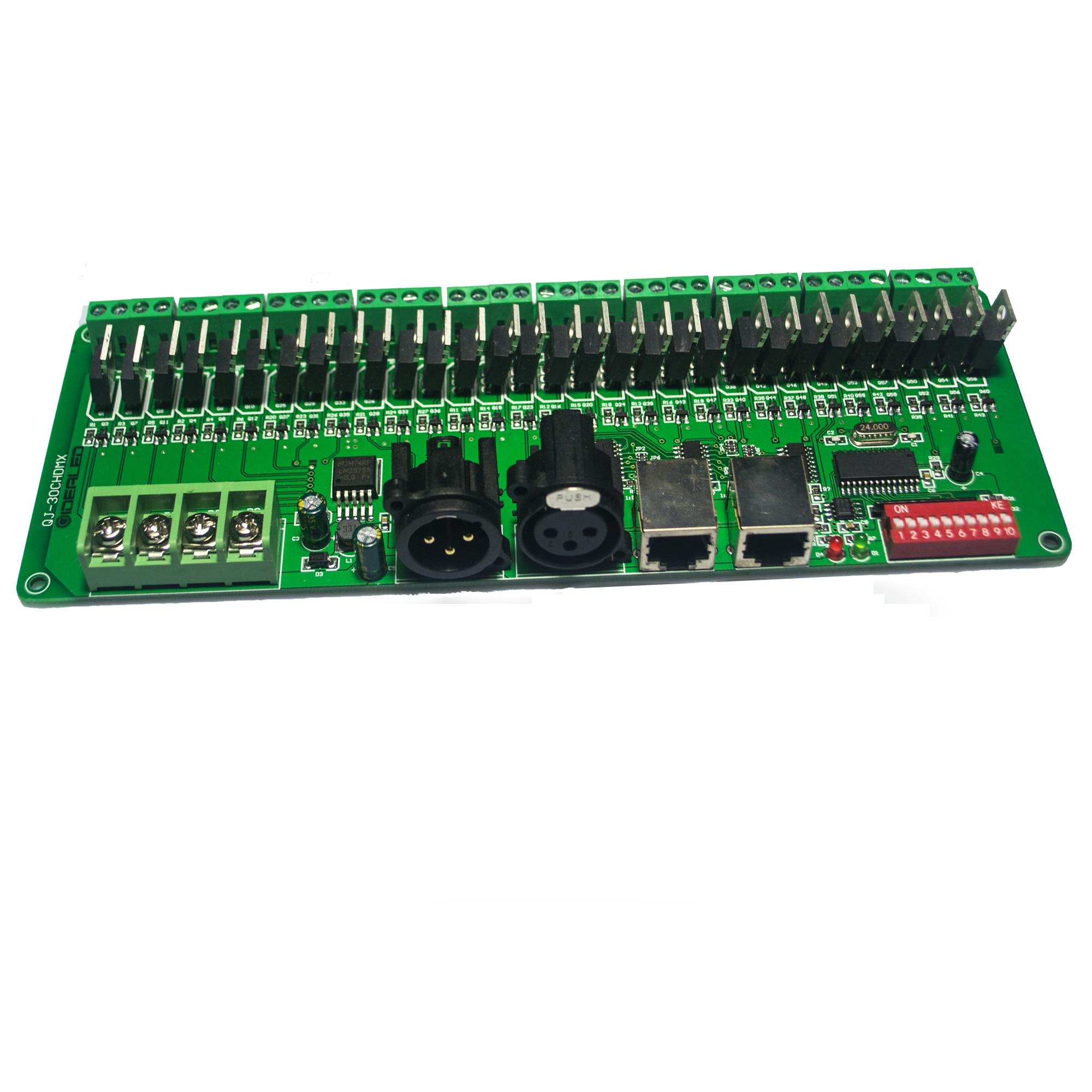 30 channel DMX Decoder with RJ45 and XLR Plug 27 channel DMX512 Decoder For DC12V-24V RGB Strip Controller 60A dmx dimmer driver