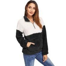 13 Colors Patchwork Long Sleeve Pocket Pullover Sweatshirts Women 2019 Autumn Winter Casual Warm Kintted Sweatshirt Female Tops цена и фото