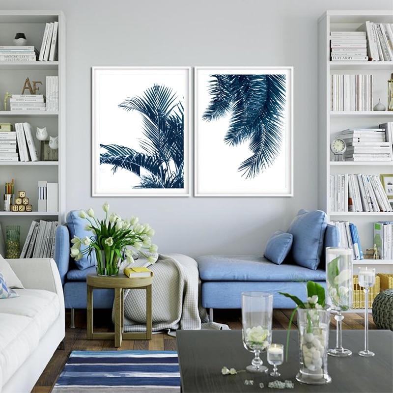 Navy Blue Wall Art Palm Leaves Canvas Prints Home Decor