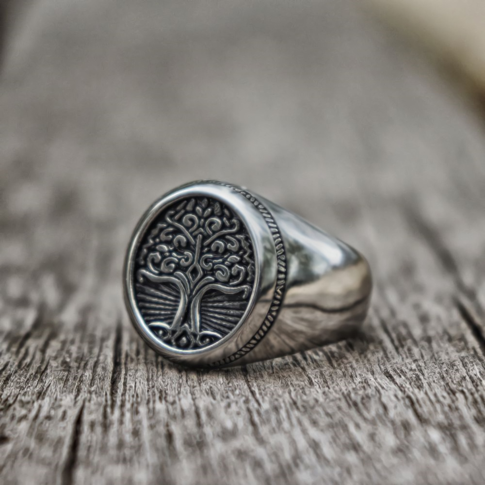 EYHIMD Stainless Steel Tree of Life Signet Ring Classic Men Viking Amulet Rings Nordic Jewelry
