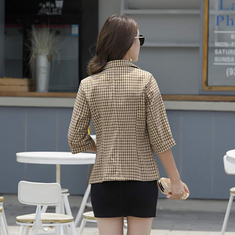 2019 Seven-point Sleeve Plaid Fashion Short Thin Coat Spring Summer New Korean Version Self-cultivation Casual Suit Jacket