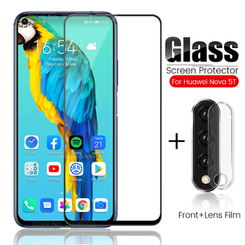 Перейти на Алиэкспресс и купить Защитное стекло 2 в 1 для камеры nova 5 t, Защитное стекло для huawei nova 5 t Hawei nova 5 t 6,26 '', Защитная пленка для экрана hyawei nova5t