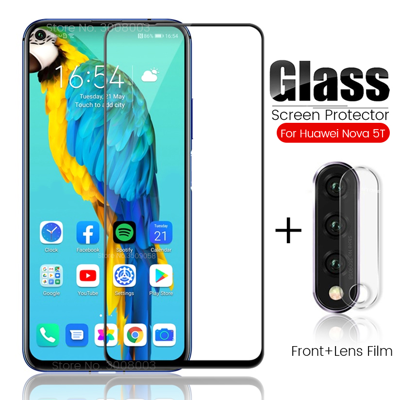 2-in-1 Glass For Huawei Nova 5t Glass Camera Protective Glass On Hauwei Hawei Nova5t Screen Protector Safe Film Nova 5 T 6.26''