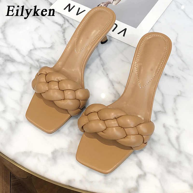 Eilyken 2021 mulheres verão slides de alta qualidade tecer dedo do pé aberto casual salto baixo chinelo lazer sandália feminino praia flip flops