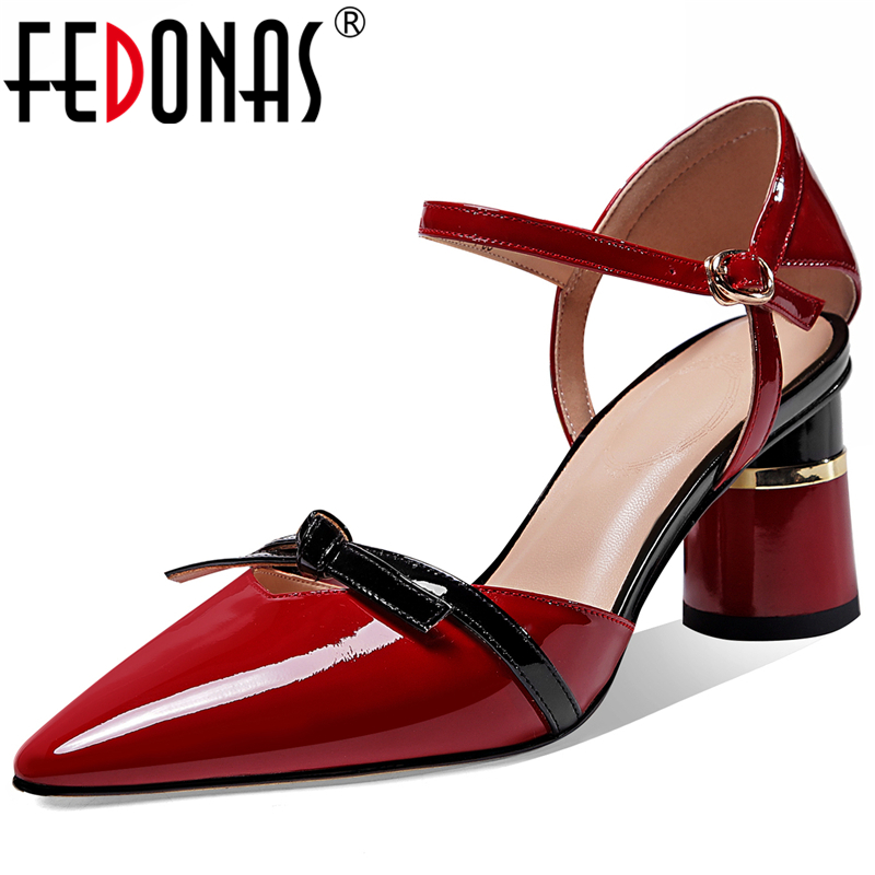 FEDONAS Elegant Concise Wedding Casual Women Cow Patent Leather Pumps Butterfly Knot Ankle Strap Shoes Pointed Toe Shoes Woman