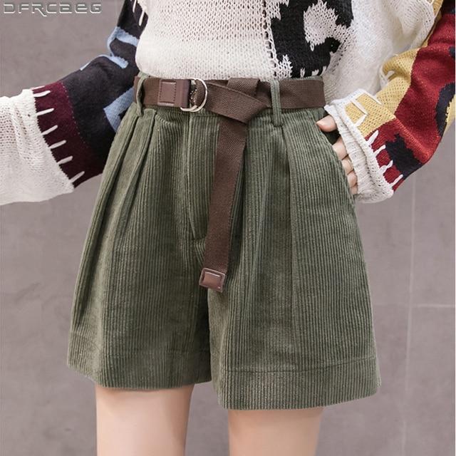 Casual Streetwear S-5XL Plus Size Shorts For Women Winter High Waist Corduroy Ladies Shorts With Belt Loose Wide Leg Short Femme 1