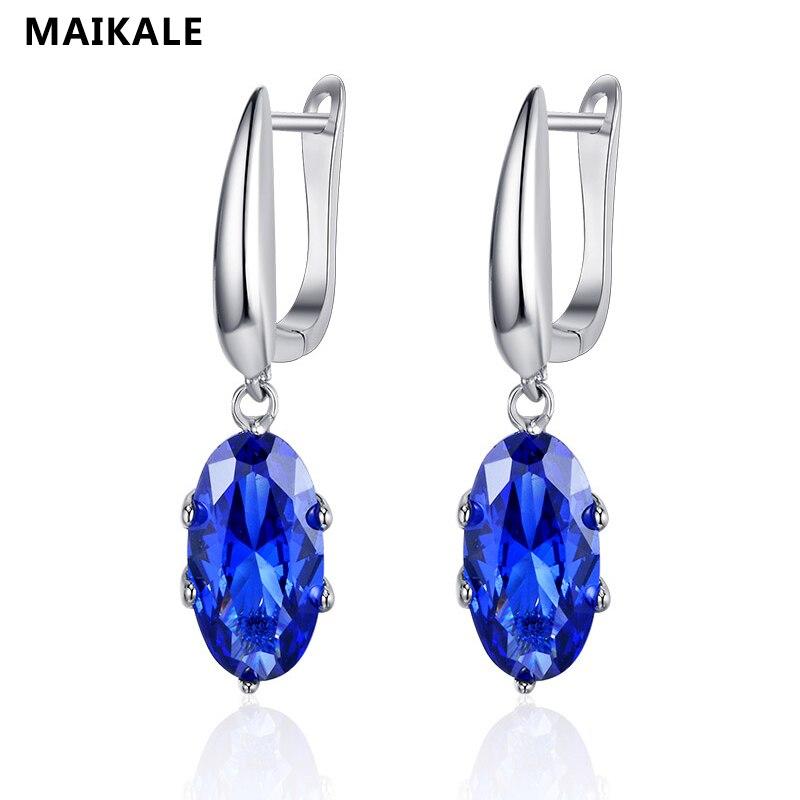 MAIKALE Trendy Stud Ohrringe für Frauen Vintage Wasser Tropfen Sky Blau Ohrringe Hochzeit Party Zirkonia Gold Schmuck für Mädchen