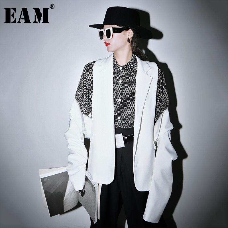 [EAM]  Women White Split Hollow Out Blazer New Lapel Long Sleeve Loose Fit  Jacket Fashion Tide Spring Autumn 2020 1R816