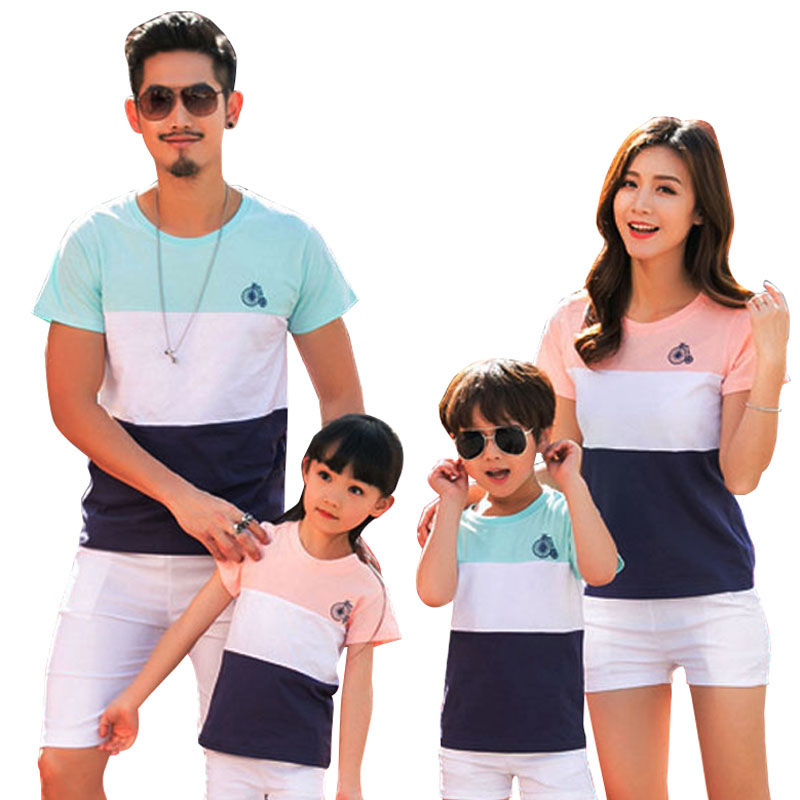 Family Set Fashion Striped Summer Short Sleeve T-shirt Matching Family Clothing Outfits For Mother Daughter And Father Son