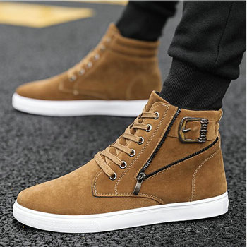 Men Spring Autumn Fashion Sneakers Lace-up Buckle shoes big size 47 Man canvas Walking Shoes  Mens High-top Canvas Shoes A56-60