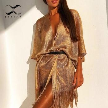 Tassel gold bikini cover up Sexy beach dress tunics for women beachwear 2021 Summer See through swimsuit cover-ups kaftan new 1