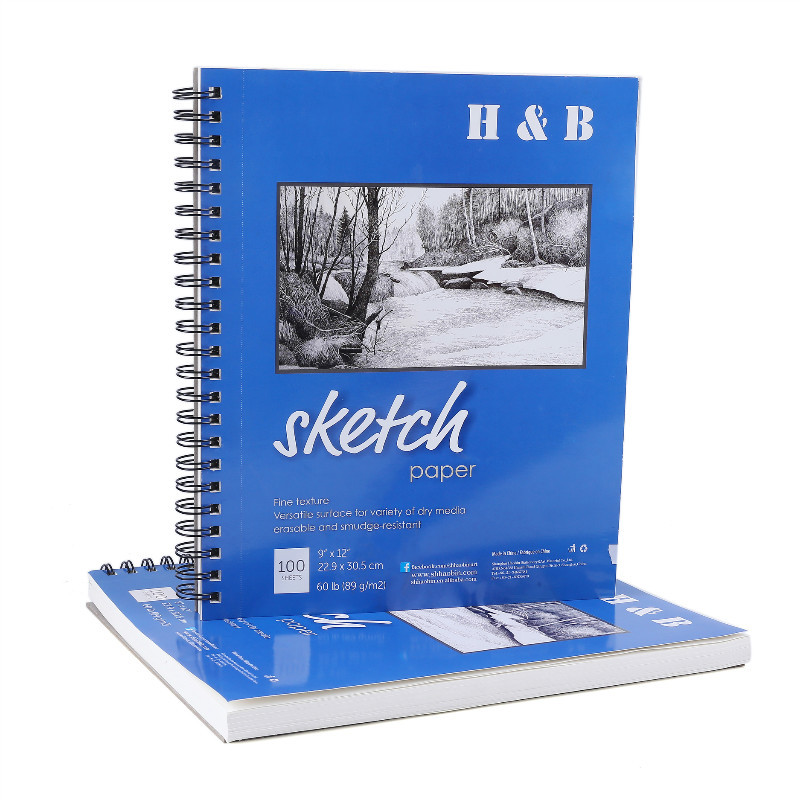 Cross Border For H & Amp; B 9X12 Sketch Painting Book Double Coil Profession Fine Art Blank Sketch Book