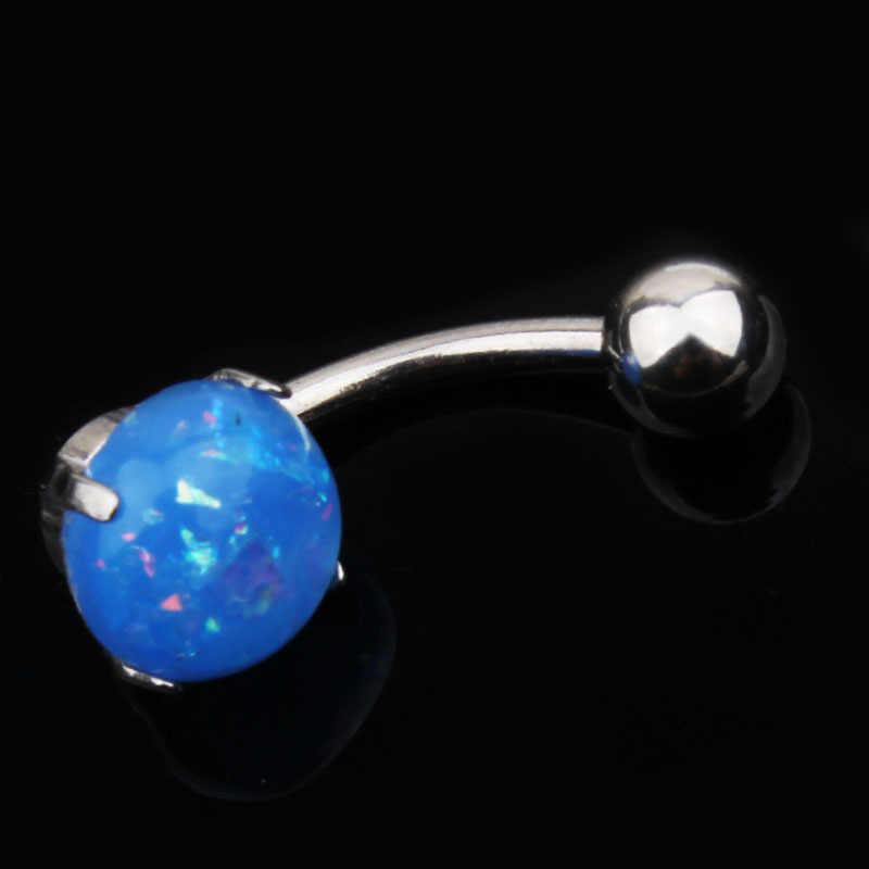 Imixlot Nuovo Creativo Acciaio Chirurgico Blu White Opal Gem Navel Anelli Del Tasto di Pancia Piercing Bar Charming Monili Per Il Corpo E Piercing 14G