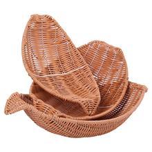 Ship Shape Fruit Basket Hotel Home Hand Woven Kitchen Bread Vegetable Storage