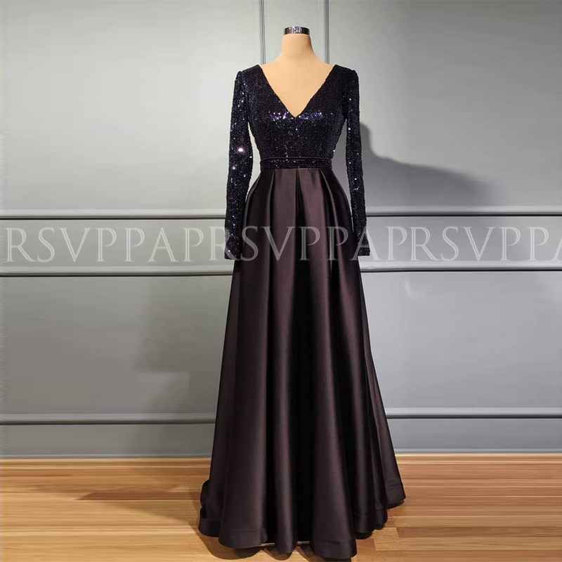 Long Elegant Evening Dress 2019 Simple Real Picture Long Sleeves DubaI Women Black Satin Party Formal Gowns