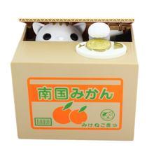 Mealheiro gato roubar dinheiro moeda caixa de poupança pote caso bateria operado presente perfeito mealheiro para casa e escritório mesas