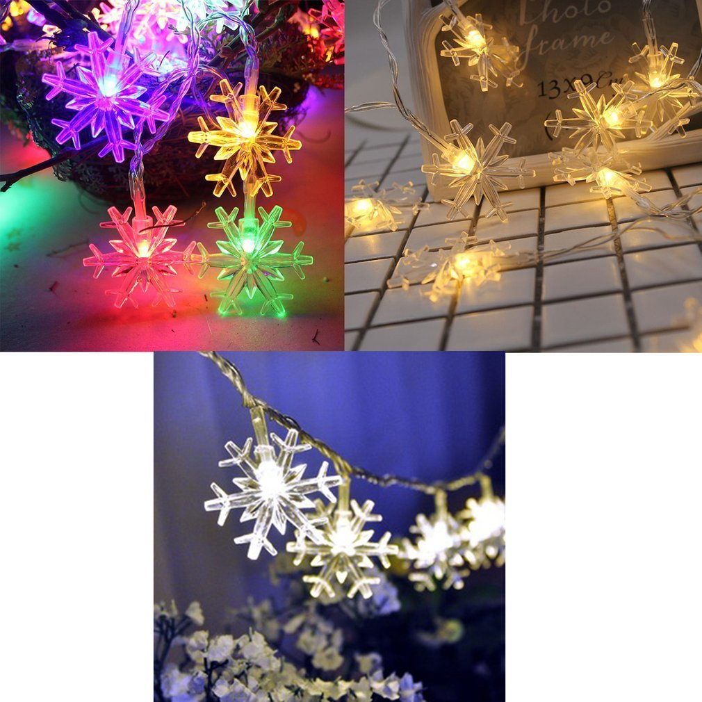 1M 10Leds Christmas Tree Snow Flakes Led String Fairy Light Xmas Party Home Wedding Garden Garland Christmas Decorations Outdoor