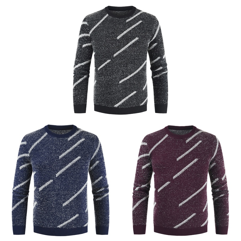 Autumn Winter Warm Sweater Men Casual Slim Pullover Round Neck Knitted Classic Warm Jumpers Pull Femme1