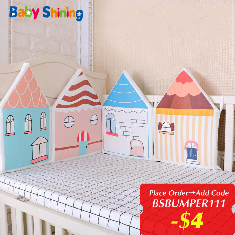 Baby Shining Newborn Baby Crib Bed Bumper 4pc Colorful House Bedding Set Bumper Fence Anticollision Washable Baby Room Accessory