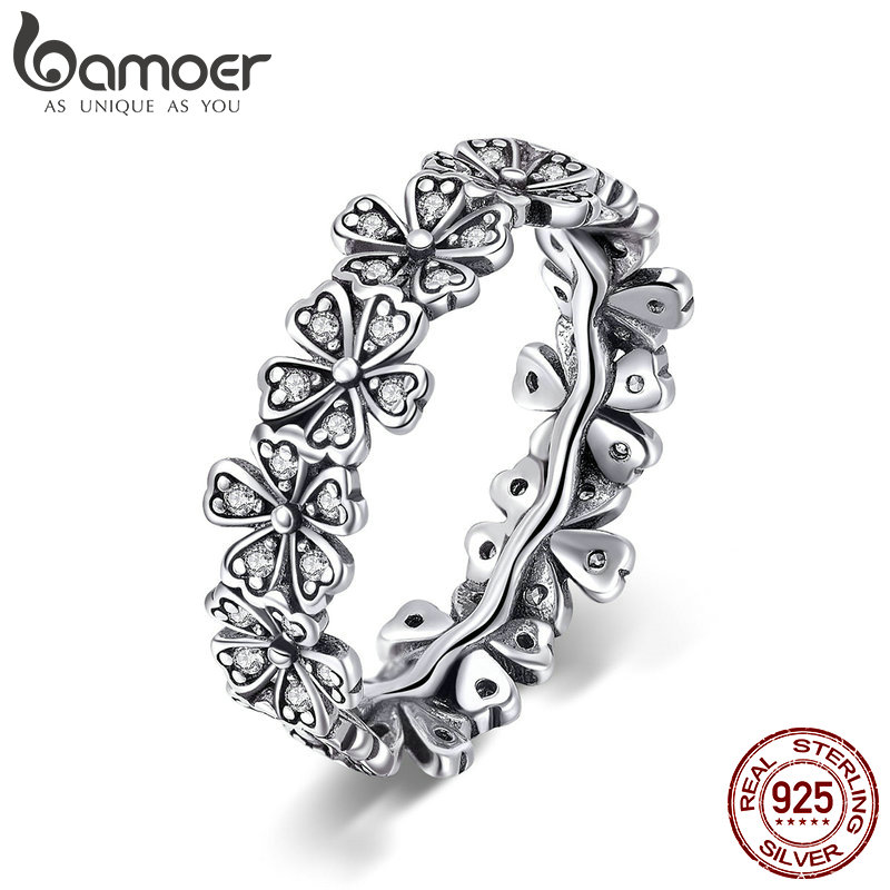 BAMOER Trendy New 100% 925 Sterling Silver Stackable Daisy Flower Finger Rings For Women Sterling Silver Wedding Jewelry SCR397