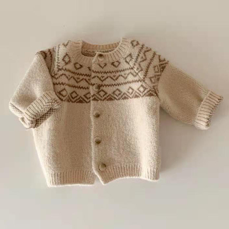 Baby Girls Boy Cardigan Jackets Retro Diamond Lattice Sweater Baby Cute Sweet Toddler Clothing Kids Children Casual Top Coat New