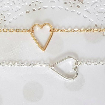 Tiny Line Hollow Out Open Heart Bracelets Simple Wire Wrapped Love Heart Bracelets for Lovers Couples Wedding blessing jewelry