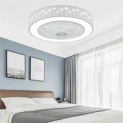 Moderne minimalistischen weiß lackiertem eisen decke fan licht kristall dekorative acryl LED beleuchtung dimmbare schlafzimmer fan lampe AC220