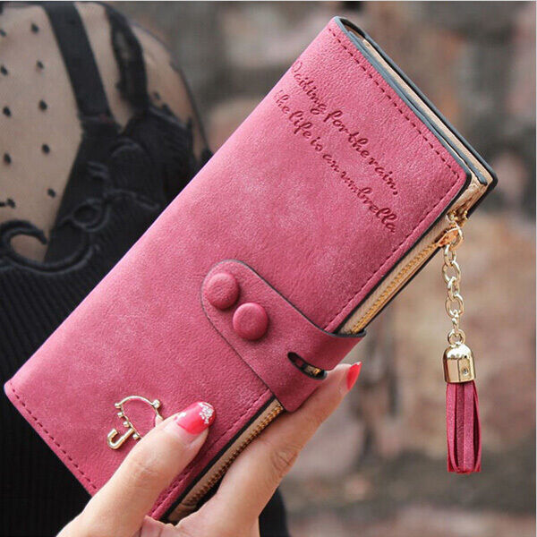 Womens Lady PU Leather Card Holder Long Wallet Clutch Checkbook Zip Frosted Tassel Button Letter Umbrella Scrub Textured Purse