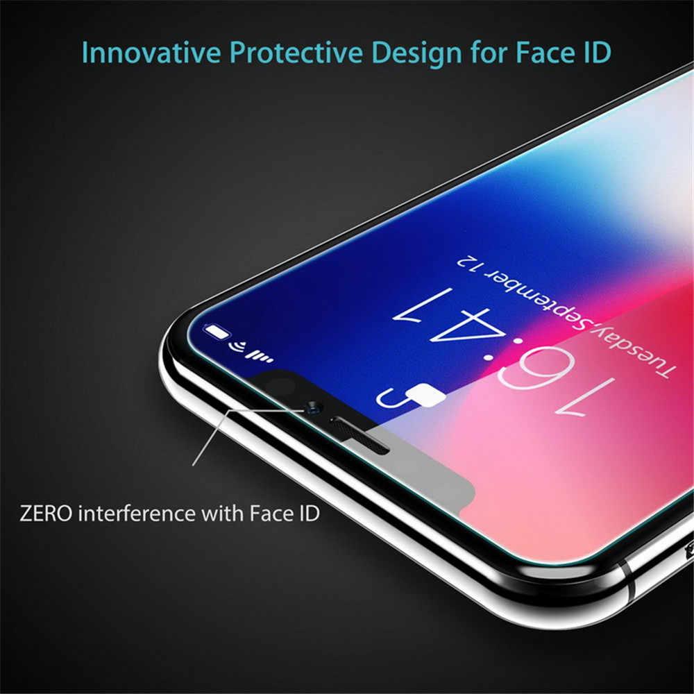 Kaca Pelindung Di iPhone 7 8 6 S Plus X XS 11 Pro Max XR 5 S SE 2020 Layar pelindung Anti Gores untuk iPhone 11 Pro Max Kaca