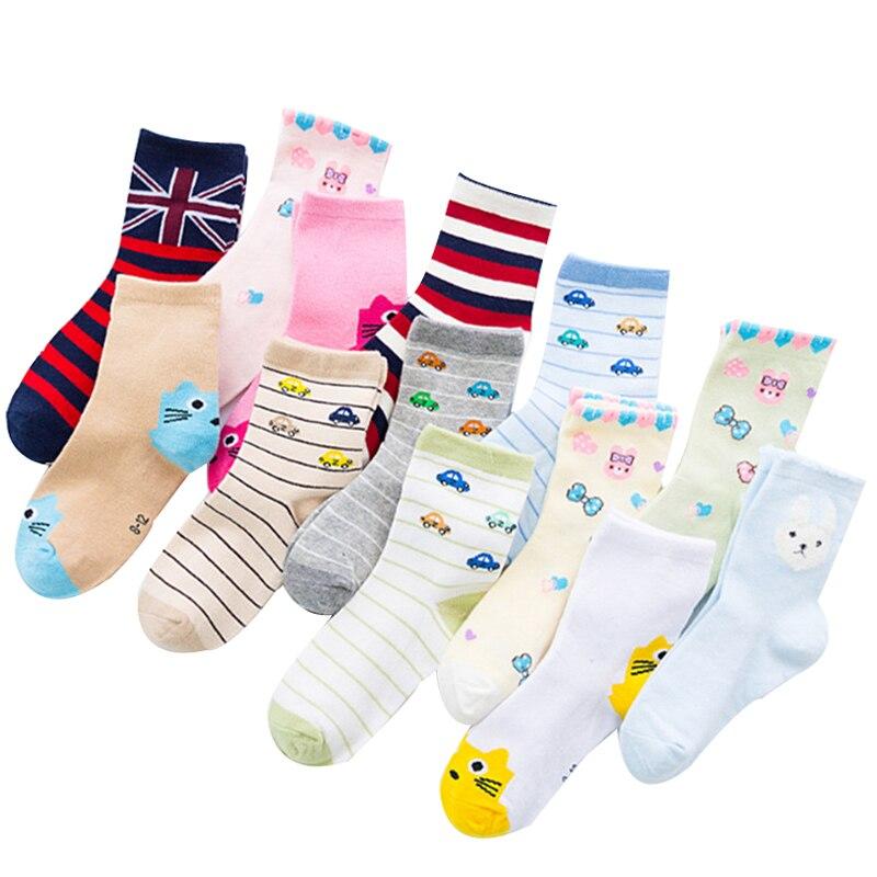 1 Pair Random Color Baby Boys Girls Lovely Socks Toddler Socks Cartoon Cotton Socks 1-7 Years