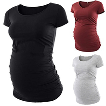 Pure Black Maternity Women Tops Tees Pregnancy Long T-Shirt 2019 Summer 3 Color Gray Red For Pregnant S-XL D35