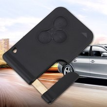 3 Button Smart Card For Renault Clio Megane 2 3 Koleos Scenic Card Case Black Car Key Fob Shell With Small Key(China)