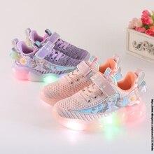 Frozen Elsa Kids Shoes For baby girls Light Children Luminous baby Sneakers mesh sport Girls Led Light Shoes Disney