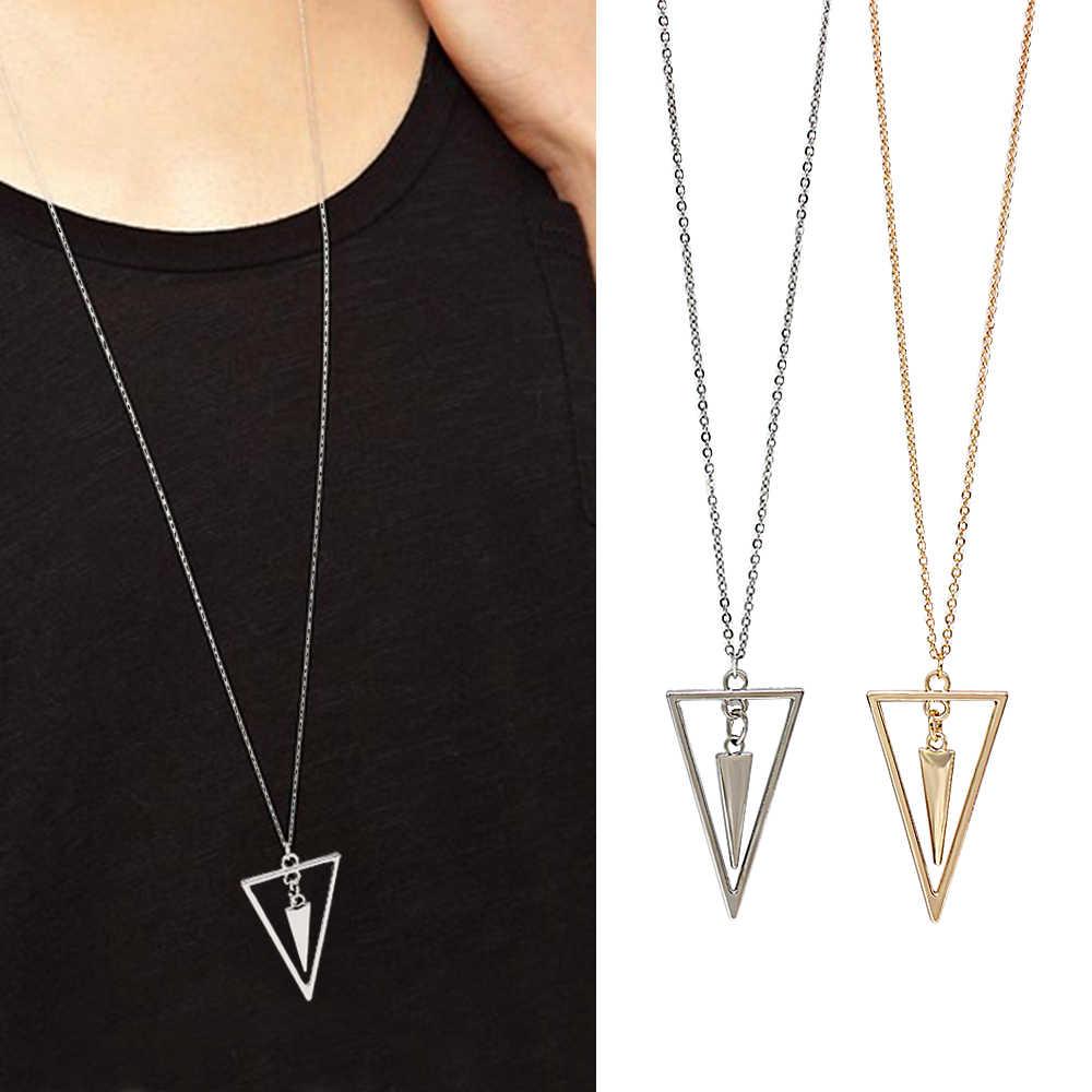 Nowe proste geometryczne wiszące naszyjniki zimowe naszyjniki długi łańcuch sweter biżuteria choker dla kobiet Chocker collier femme Collar