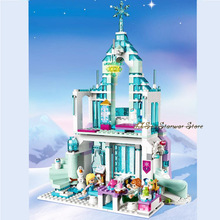 New Princess Series Elsa Anna Magic Ice Castle Palace Model Building Blocks Bricks 43172 With Children Toys Gift No Box dhl fit for 10193 lepin 16011 1601pcs castle series the medieval manor castle model building kits set blocks bricks toys gift