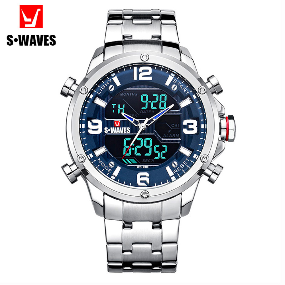 SWAVES Relojes Hombre 2019 Waterproof Military Watch Men Dual Display Luxury Stainless Steel Quartz Fashion Big Wristwatch Mens image