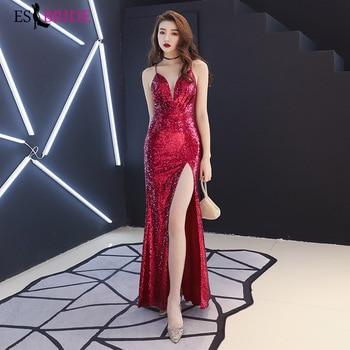 Sexy High Bifurcate Evening Dress Long Evening Dresses Party Deep V-neck Vestido De Noche Con Cristal 2019 Evening Gown ES2537-1