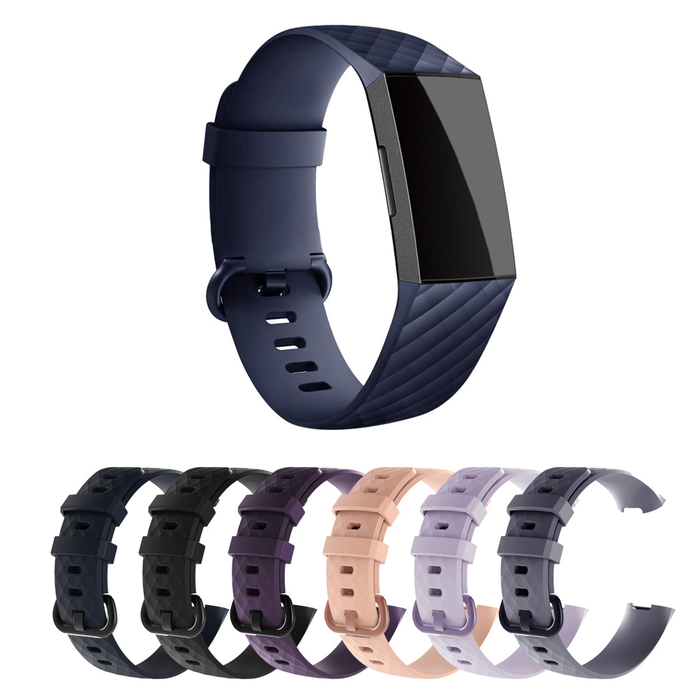 Applicable Fitbit Charge3 Watch Strap Silica Gel Sports Watch Strap Charge3 Rhombus Silica Gel Replacement Wrist Strap