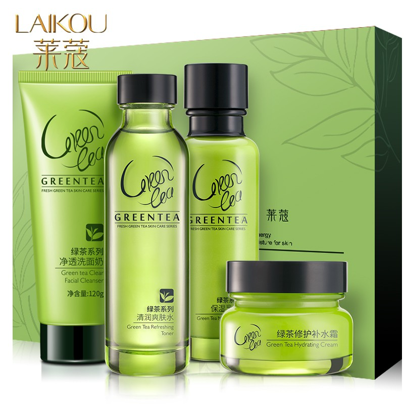 LAIKOU 4pcs/set Green Tea Essence Skin Care Set Cleanser Cream Toner Emulsion Whitening Anti Wrinkle Smooth Hydrating Face Care