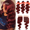Pinshair 99J Hair Red Burgundy Bundles With Closure Brazilian Body Wave Human Hair Weave Bundles With Closure Non-Remy No Tangle 1