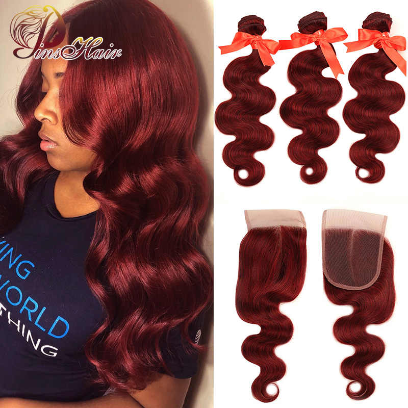 Pinshair 99J Hair Red Burgundy Bundles With Closure Brazilian Body Wave Human Hair Weave Bundles With Closure Non-Remy No Tangle