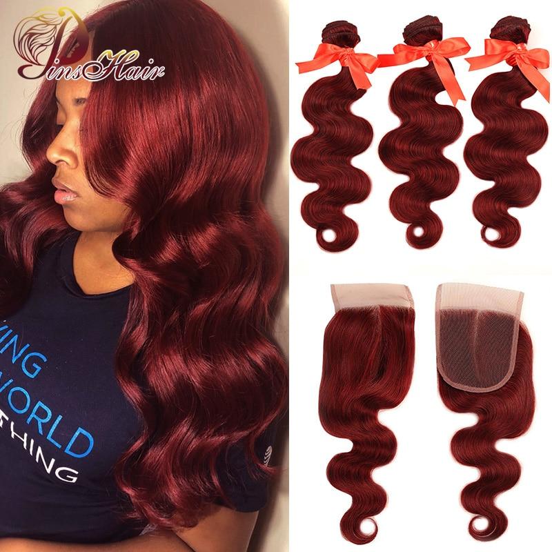 Pinshair 99j cabelo vermelho borgonha pacotes com fechamento onda do corpo brasileiro cabelo humano 3 pacotes com fechamento remy cabelo nenhum emaranhado
