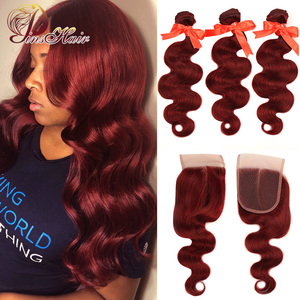 Pinshair 99J Hair Red Burgundy Bundles With Closure Brazilian Body Wave Human Hair Weave Bundles With Closure Non-Remy No Tangle(China)