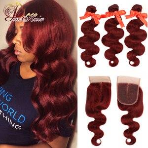 Image 1 - Pinshair 99j hair red burgundy bundles with closure 브라질 바디 웨이브 휴먼 헤어 위브 번들 (closure non remy no tangle)