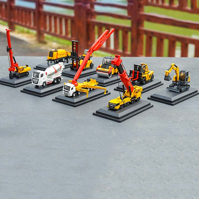 1/87 Mini Trinity SANY Crane Excavator Pump Truck Mixer Road Roller Rotary Rig Alloy Engineering Machinery Model Car Toy Collect