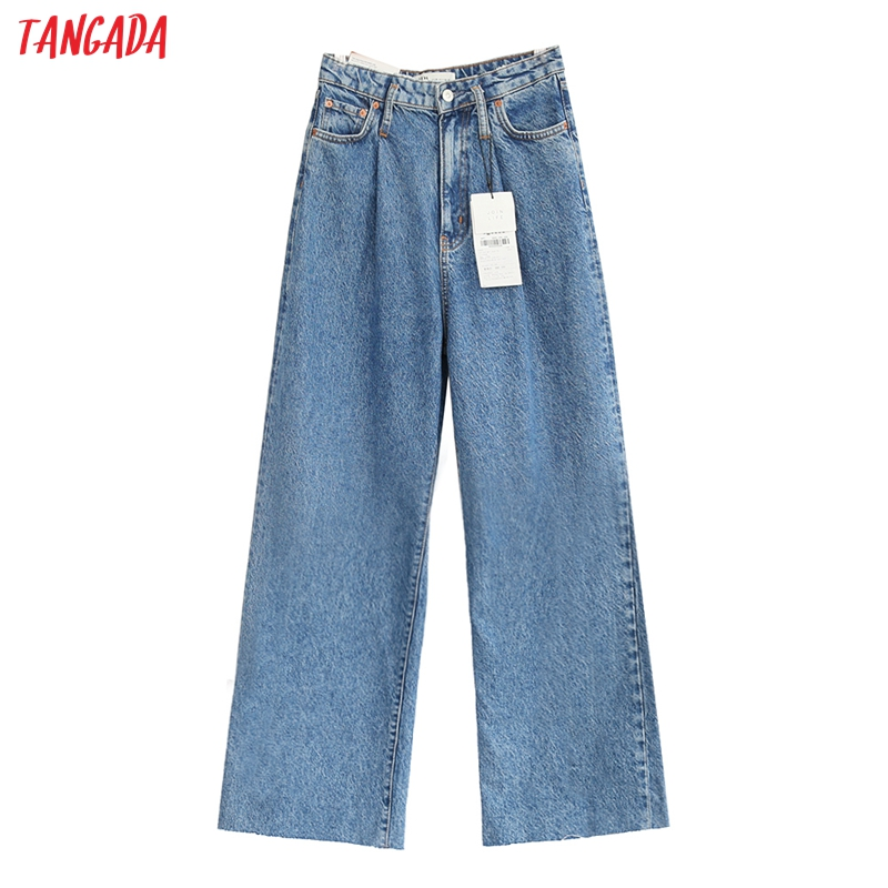 Tangada Fashion Women Blue Pleated Wide Leg Jeans High Waist Pockets Denim Trousers Female Casual Long Pants Pantalones SW01